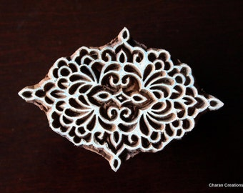 Hand Carved Indian Wood Block Stamp - Baroque Style Motif