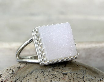 Silver druzy ring,sterling silver ring,gemstone ring,semiprecious ring,agate druzy ring,bridal ring,wedding ring