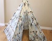 Free Shipping! Brown, Blue, Cream, Camo, Camouflage, Play Teepee, Tee Pee, Tent (poles included) Ready to Ship