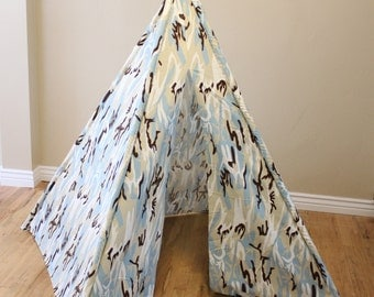 Brown, Blue, Cream, Camo, Camouflage, Play Teepee, Tee Pee, Tent (poles included) Ready to Ship
