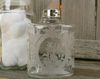 Vintage Talc Powder Bottle, Etched Glass, Vanity, Boudoir, Beauty, Cosmetics