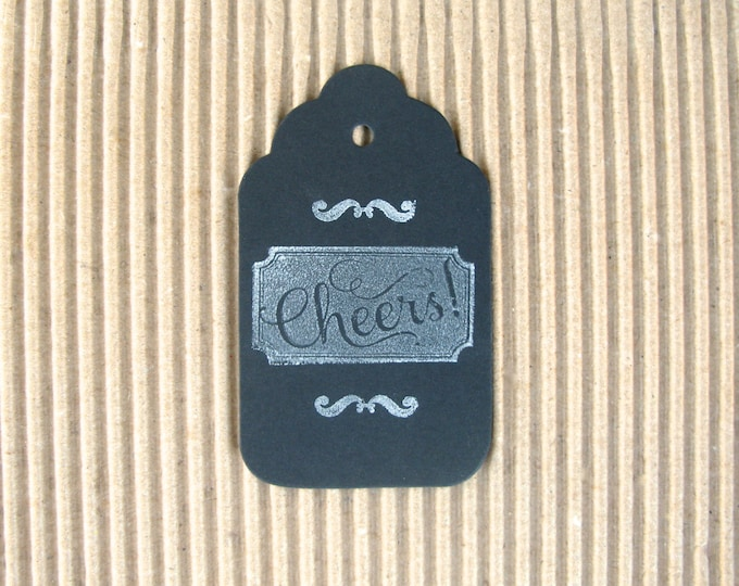Chalkboard Gift Tags, Cheers Gift Tags, Vintage Design Black Chalkboard, Hand Stamped, set of 6