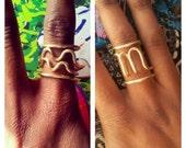 Zodiac Symbol Adjustable Brass Rings