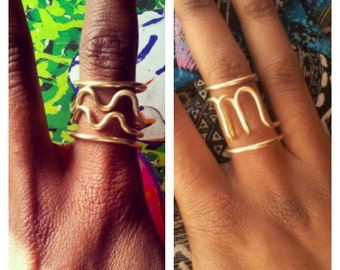 Zodiac Symbol Adjustable Brass Rings
