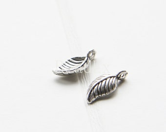 60 Pieces / Leaf / Oxidized Silver Tone / Base Metal / Charm (Y16494//O122)