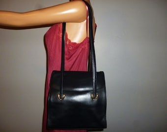 Vintage 90's - Talbots Made in Italy - Navy Blue - Thick Leather - Shoulder Bag