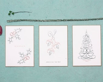 Vintage Style Christmas Card Set, Christmas Carol Cards, Kraft Envelopes, Nostalgic Peaceful Christmas Cards (6 cards, 3 different designs)