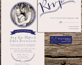 Laurel Wreath Wedding Invitation Suite   Boho Wedding Invite   Photo Wedding Invitations   Navy Blue and Ivory Wedding   Cheap Invitations