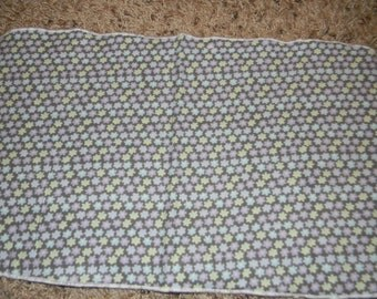 Purple, Gray, Blue, and Green Flowered Burp Cloth