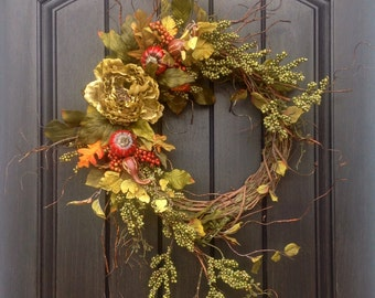 Fall Wreath Thanksgiving Wreath Halloween Green Berry Branches Wispy Twig Grapevine Door Wreath Decor, Green Peony, Indoor Outdoor Decor