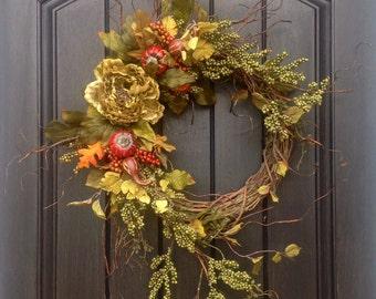 Fall Wreath Thanksgiving Wreath Halloween Green Berry Twig Grapevine Door Wreath Decor Gourd Orange Floral Door Decoration