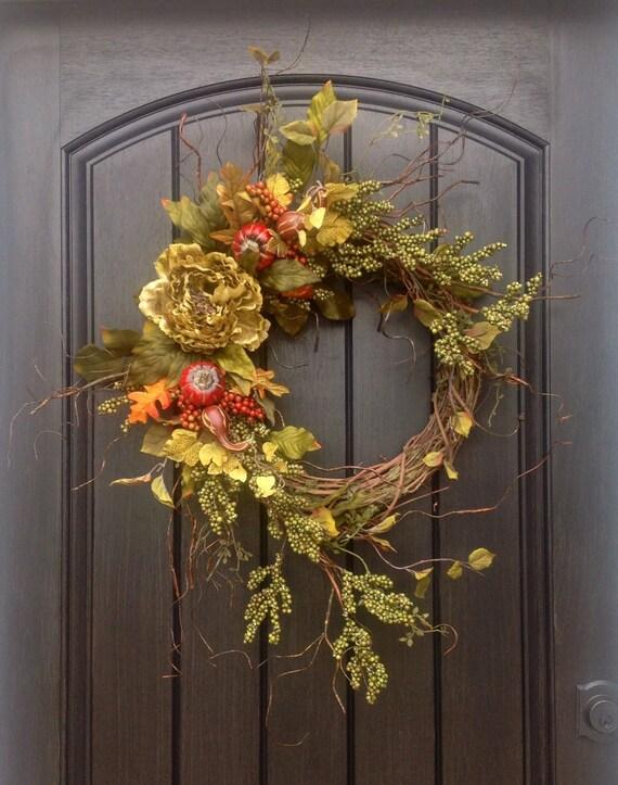 Items similar to Fall Wreath Thanksgiving Wreath Halloween ...