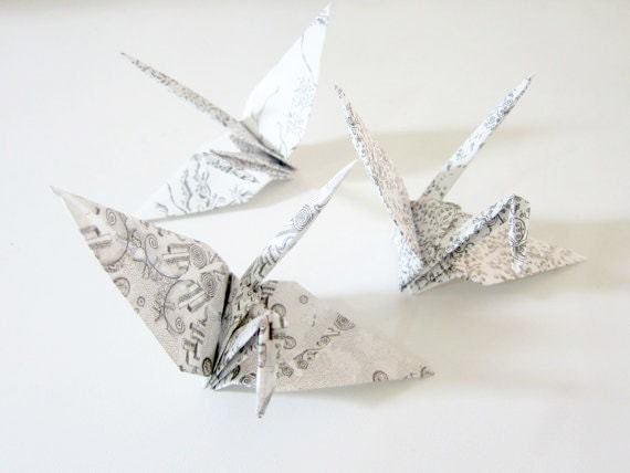 8 Large Black and White Aitoh Chiyogami Origami Cranes