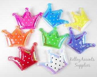 Padded Crown Appliques - Shiny Puffy Crown Appliques
