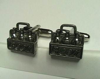 Beer Cuff Links with silver Cuff Base