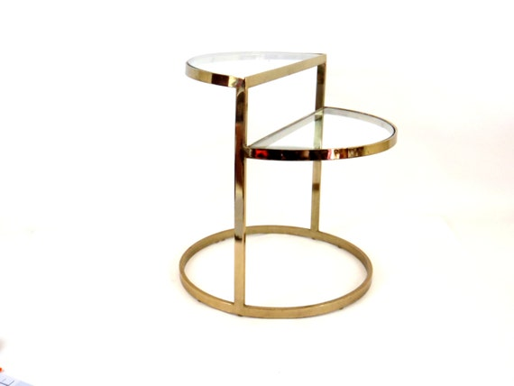 Table 1960s Vintage Table Glass Top Table Side Table Round Table Metal Table Tiered Table