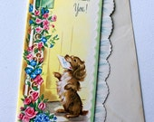 1940s vintage  embossed Dog Get Well Soon card, unused, with envelope