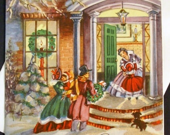 1940s Vintage Homecoming Christmas Card UNUSED, with envelope