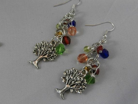 Crystal Bead and Silver Tree Charm Dangle Earrings
