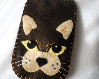 Brown Cat Cell Phone Case,  Hand Stitched Felt, Fits Iphone, Android, and Galaxy