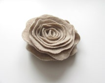 Heathered Pale Oatmeal Taupe Cashmere Felted Wool Rose Brooch Flower Pin