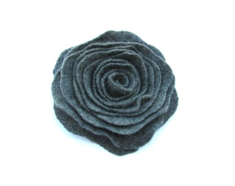Cashmere Charcoal Gray Recycled Wool Rose Flower Pin Rose Brooch