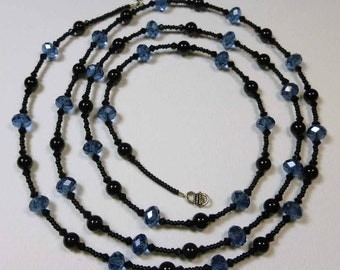 Blue Crystal and Black Onyx Extra Long Wrap Necklace