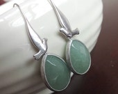 Silver Earrings, Green Earrings, Jade Earrings, Framed Earrings, Bridal Earrings, Silver bird, Dove bird, Light Green Earrings