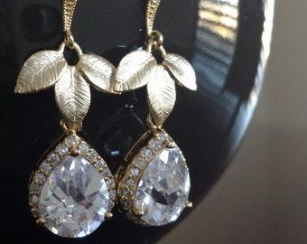Cubic Zirconia Leaf Earrings, Bridal Earrings, Crystal Leaf Earrings, Bridal Jewelry, Bridesmaid, Gift, Wedding Jewelry, Gold Earrings