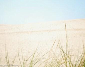 Sand Dunes Photograph, Outer Banks Print, Grass Sand Dunes Sky, Pale Aqua Beige Green Wall Art 8x12