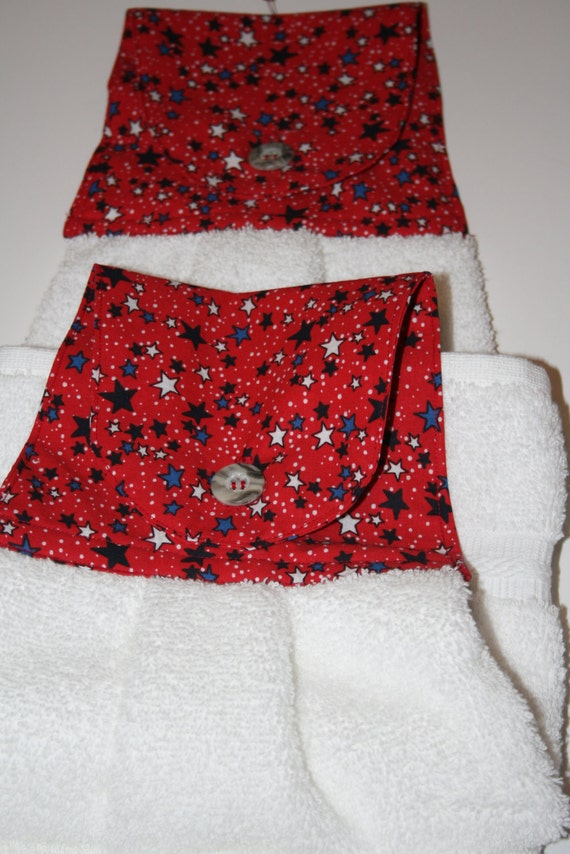 Hanging Kitchen Towel in Red with White and Blue Stars and a White ...