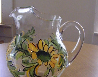 Hand painted glass pitcher in daisy design