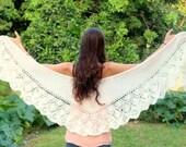 Off White- Ivory shawl Spring Hand Knit  Shawl,  Knitted Lace Shawl, Womens Wraparound Shawl