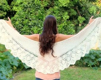 Off White- Ivory shawl Spring Hand Knit  Shawl  Knitted Lace Shawl Womens Wraparound Shawl Crochet Shawl