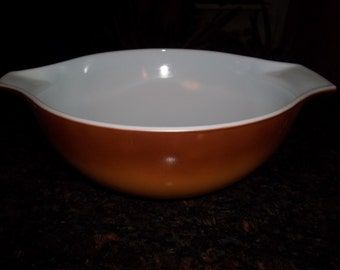 Pyrex#444 2Tone Light Brown to Dk Brown Cinderella  Mixing Bowl 4 Quart