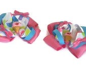 """Ice Cream Hair bows Pig Tail Set of two 4"""" Blue, Hot Pink and White Polka Dot Ribbon, Pink Satin Bows and Ice Cream Cone Centers"""