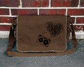 Heart Mixtape Brown Cotton Canvas Messenger Bag - Music - Cotton Canvas Messenger Bag