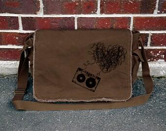 Heart Mixtape Brown Cotton Canvas Messenger Bag - Music - Cotton Canvas Messenger Bag