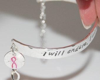 Breast Cancer Strength Bracelet - Sterling Silver, Cancer Bracelet, Awareness bracelet, Cancer support bracelet, Pink ribbon bracelet