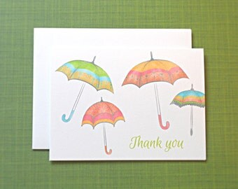 Baby Shower Thank You Cards / Umbrella Baby Shower Thank You Cards / Thank You Notes, 10-Count