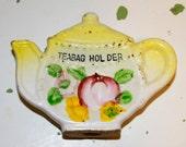 Vintage Tea Bag Holder Caddy Rest Yellow Ceramic Cottage Chic Teapot 1950s 50s Fifties Japan