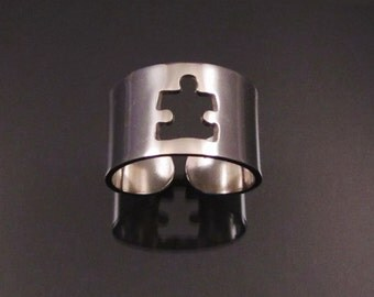 Puzzle Piece Silver Cuff ring