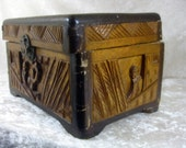 Beautiful Hand Carved Chinese Wooden Vintage Box - Broken and Needing Extreme Repairs or Upcycling