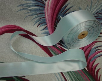 """Beautiful Vintage Light Blue Satin Single Face Ribbon, 1 1/2"""" Wide, New Old Stock By the Yard"""