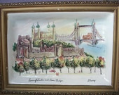 UNIQUE Antique English Ceramic Wall Hanging, Tower of London and Town Bridge, hand painted, artist signed, English wall art