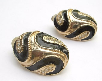 Vintage 1980's black and gold clip on earrings, rhinestone earrings. costume jewelry, enamel earrings, party jewelry gift for her