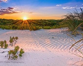 Sand Dune Sunset Photo, Sand Texture, Blue, Orange, Beach House Wall Decor, Assateague Island Maryland