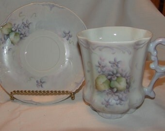 Cup Mug and Saucer HABSBURG CHINA Handpainted floral Antique Vintage footed