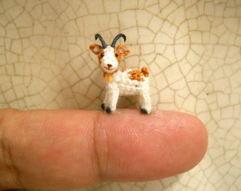 1/2 Inch Amigurumi Goat, White Brown  - Micro Miniature Crochet Stuffed Animal - Made To Order