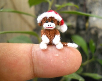 Christmas Sock Monkey Doll - Mini Amigurumi Tiny Crochet Miniature Stuff Animal - Made To Order